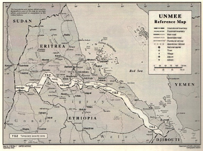 Map showing Ethiopia and Eritrea border.