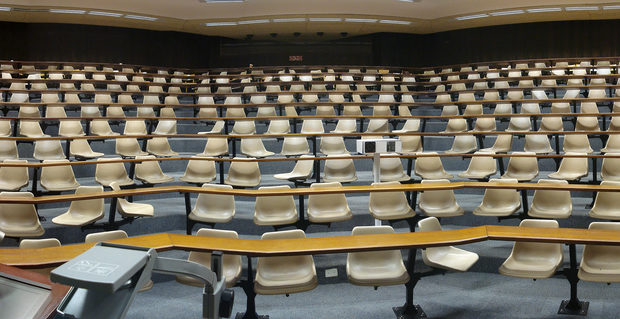 An empty lecture theatre in the University of Cape Town. Credit: Ian Barbour.
