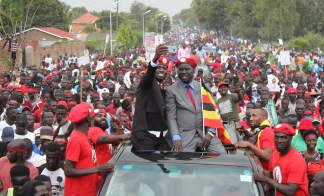 Bobi Wine on the campaign trail with Kassiano Wadri, the independent candidate that won the Arua by-election last week. Credit: Bobi Wine.