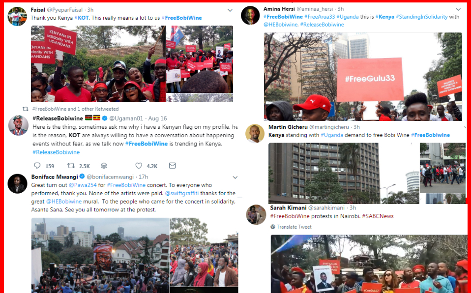 When Ugandan politician Bobi Wine was arrested, people across East Africa voiced their opposition both online, through the #FreeBobiWine hashtag, and offline.