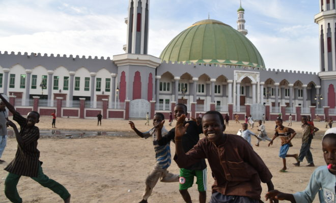 Outside the central mosque in Maiduguri, the birth place of Boko Haram. Credit: Obi Anyadike.