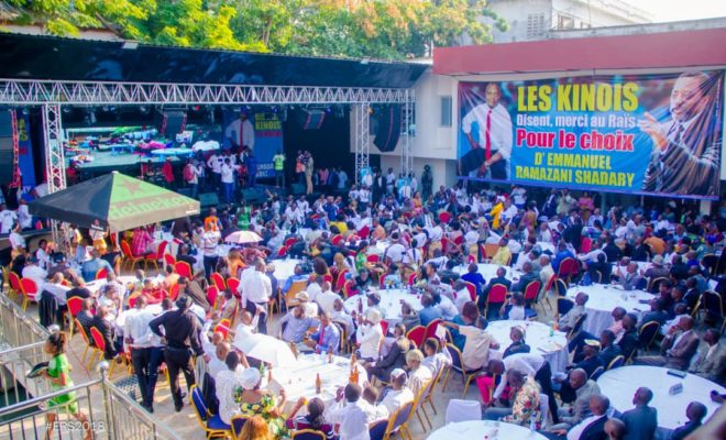 A campaign event featuring a banner showing presidential candidate Emmanuel Shadary along with the outgoing President Joseph Kabila. Credit: Shadary Campaign.