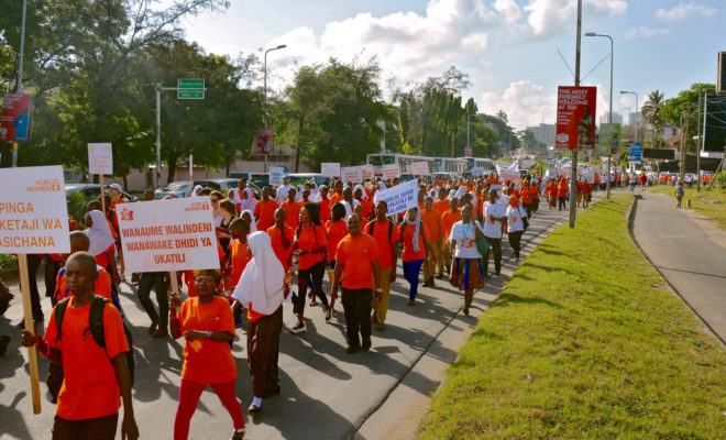 Hundreds march in Dar es Salaam, Tanzania, in 2017 calling on people to speak out and take action to end violence against women and girls. Credit: UN Women/Deepika Nath.