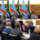 A Congolese government minister and officials meet their South African counterparts. Credit: GCIS.