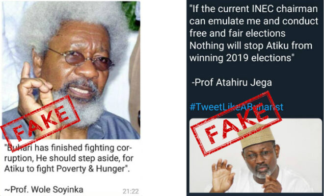 Examples of fake news around Nigeria's 2019 election.