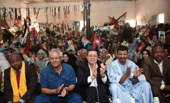 South Africa's Deputy Minister of International Relations and Cooperation on a visit to a Saharawi Refugee Camp in Tindouf in 2018. Credit: DIRCO.
