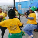 South Africa results: ANC supporters dance on Election Day in Khayelitsha. Credit: Martin Plaut.