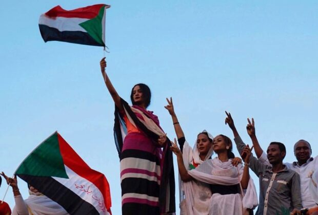 Protesters in Sudan take to the streets in huge numbers on 30 June.
