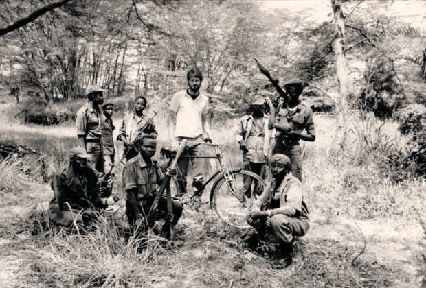 William Pike with NRA guerrillas in Luwero, July 1984, at the River Mayanja crossing point.