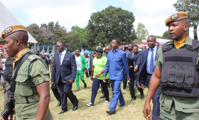 President Edgar Lungu (centre, in light blue) has been in office since 2015. Credit: WorldFish.
