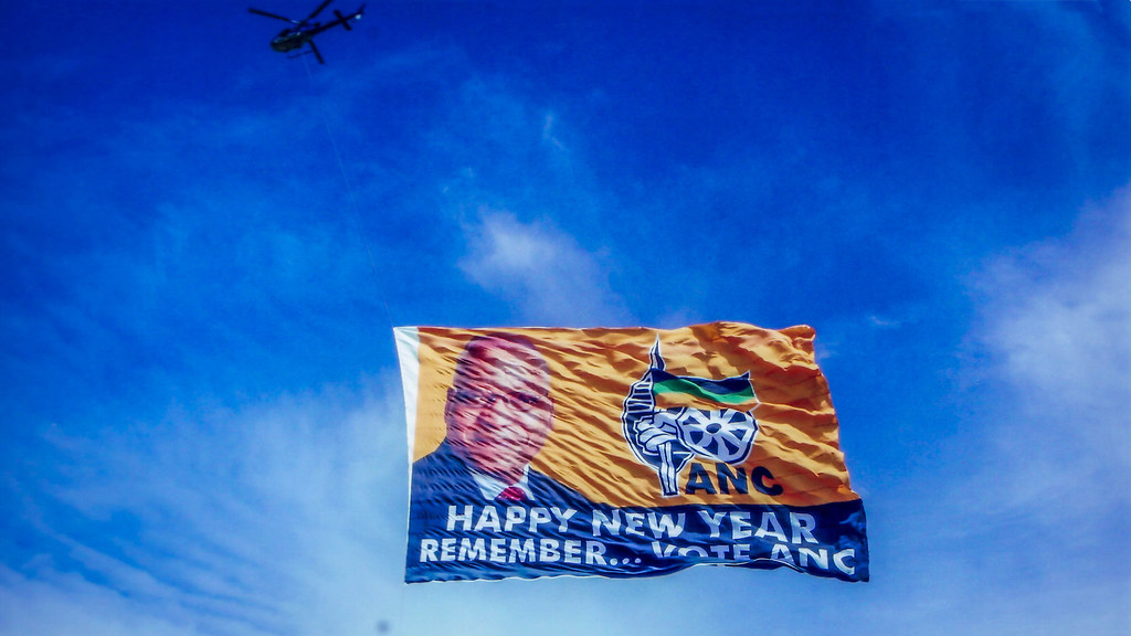 A Vote ANC banner flies in the skies. Credit: Paul Saad.