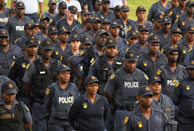 state of emergency covid-19 coronavirus: President Cyril Ramaphosa delivers well wishes to the South African Police Services ahead of the national lockdown on 26 Mar 2020. Credit: GCIS.