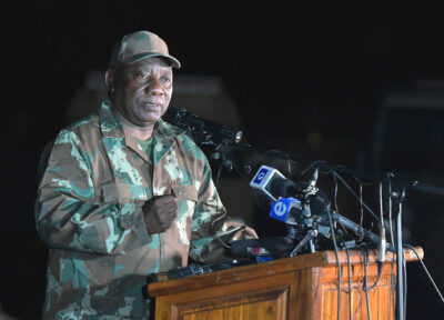 President Cyril Ramaphosa addressing the South African National Defence Force ahead of the lockdown in response to the coronavirus in South Africa. Credit: GCIS.
