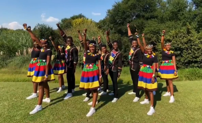 The Ndlovu Youth Choir is one of many groups of young people spreading information about coronavirus. Credit: @ChoirAfrica.