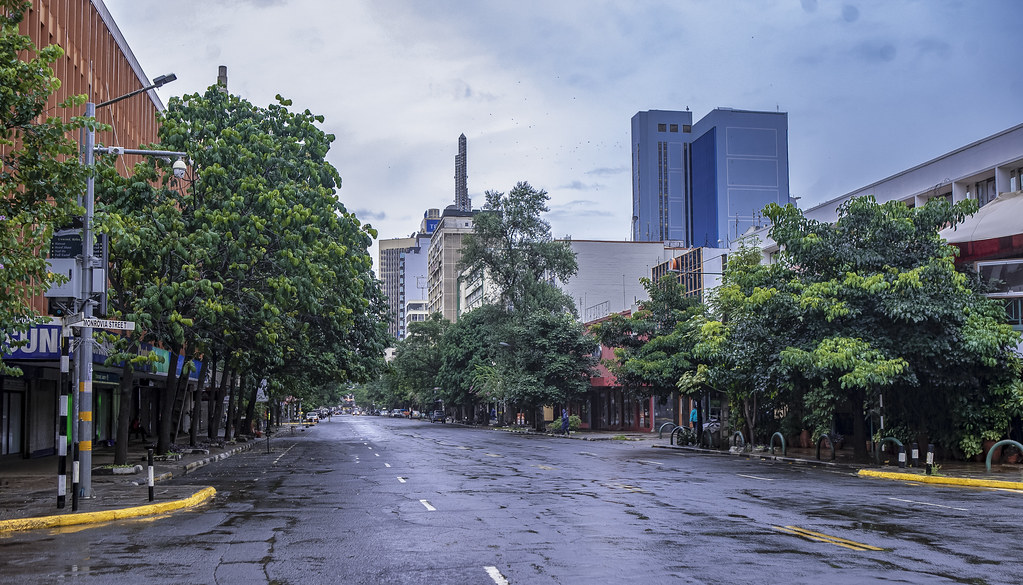An empty street in Nairobi, Kenya, during the COVID-19 pandemic. Credit: World Bank/Sambrian Mbaabu.