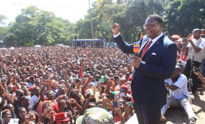 Presidential candidate Lazarus Chakwera on the campaign trail in Malawi re-run elections. Credit: MCP.