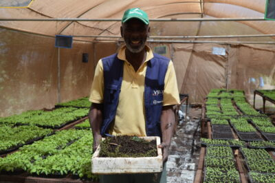 A farmer in Senegal West Africa tests methods of agroecology on the resilience of crops. Credit: FAO.