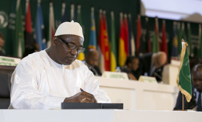 constitution President Adama Barrow of the Gambia at the AU summit in Kigali. Credit: Paul Kagame.