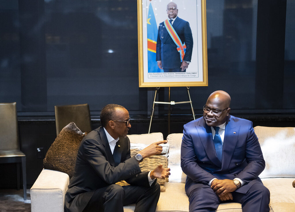 rumours President Felix Tshisekedi of the DRC (right) meeting with his Rwandan counterpart. Credit: Paul Kagame.