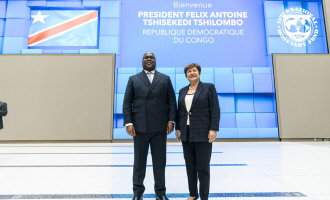 President Felix Tshisekedi of the DRC in Washington, DC, in March 2020. Credit: IMF/Joshua Roberts.