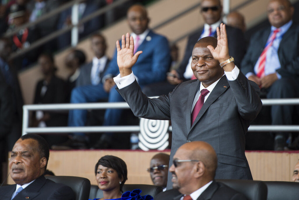 Russia. President Faustin-Archange Touadera of the Central Africa Republic officially won a second term in the December 2020 elections. Credit: Paul Kagame.