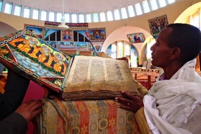 At the Church of Our Lady of Zion in Axum, Tigray region of Ethiopia. Credit: Jasmine Halki.