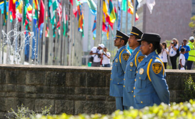 Tigray investigation; Security officers at a UN flag raising ceremony in Addis Ababa. Credit: UNICEF Ethiopia/2015/Zerihun Sewunet.